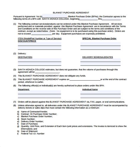 purchase order contract template blanket purchase agreement templates 8 free