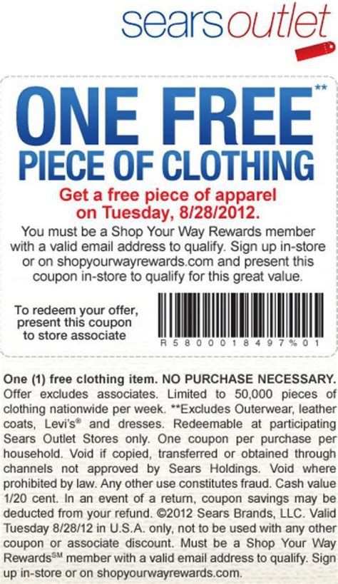 printable outlet mall coupons sears outlet free clothing printable coupon