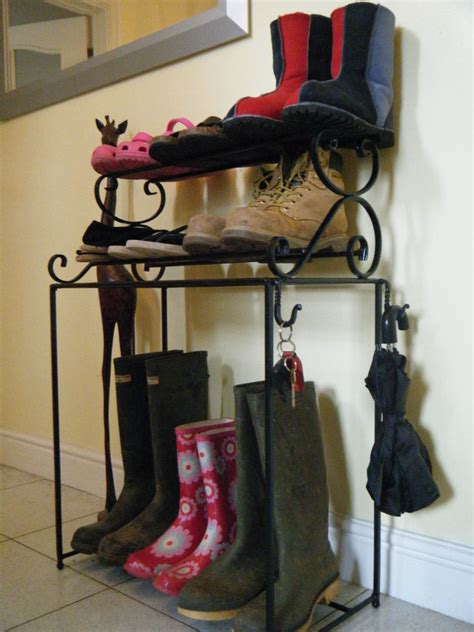 wrought iron shoe rack handmade metal welly stand ebay