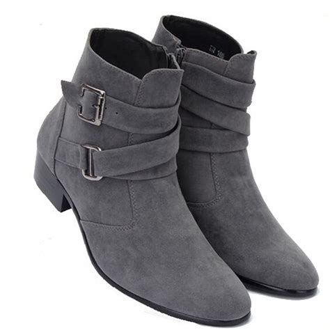 handmade mens ankle high pointed toe suede leather boots