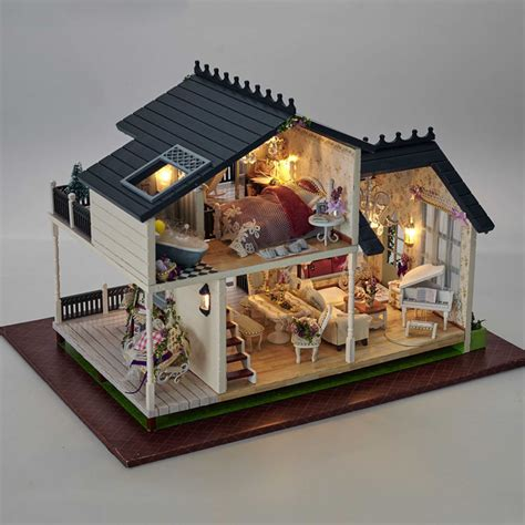 dolls house with lights a032 3d wooden large doll house miniatura furniture wood dolls lights dollhouse