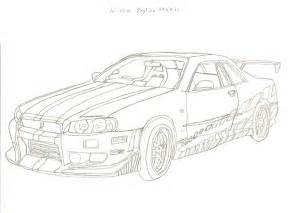 Nissan Skyline Gtr R34 Drawing Sketch Coloring Page sketch template