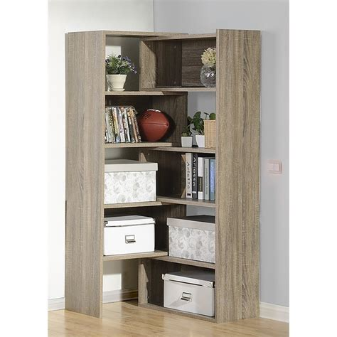 expandable shelving bookcase in reclaimed wood zh141581r