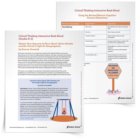 Interactive Read Aloud Lesson Plan Template Separate Is Never Equal By Duncan Tonatiuh Interactive Lesson Plan Template