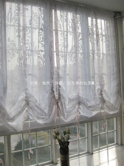 pull up drapes victorian shabby white sheer pull up balloon curtain v ebay