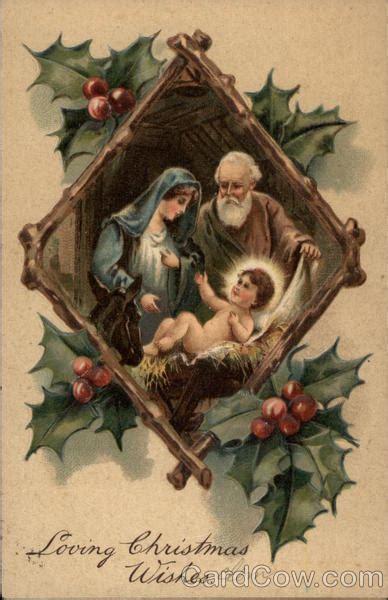 nativity scene inset  holly frame madonna child