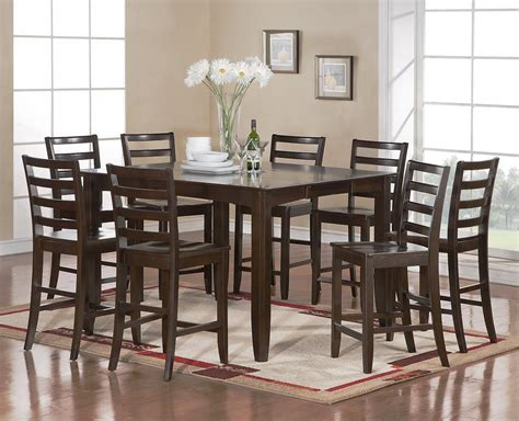 Dining Room Tables Seat 8 9 Pc Square Counter Height Dining Room Table With 8 Wood Seat Chairs Cappuccino Ebay