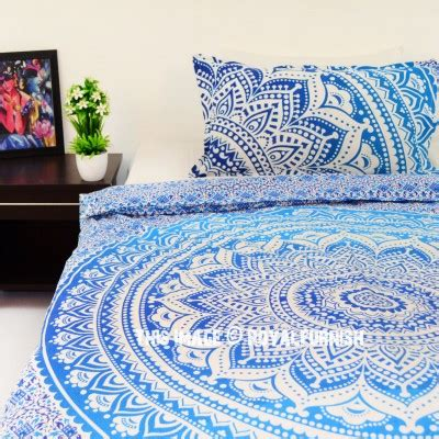 blue hippie floral mandala tapestry bedspread bed cover twin blue white flower ombre boho chic mandala bedding