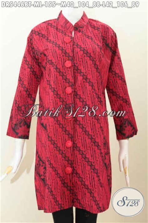 Dress Batik Wanita Merah Hitam sedia baju batik monokrom merah hitam pakaian batik jawa