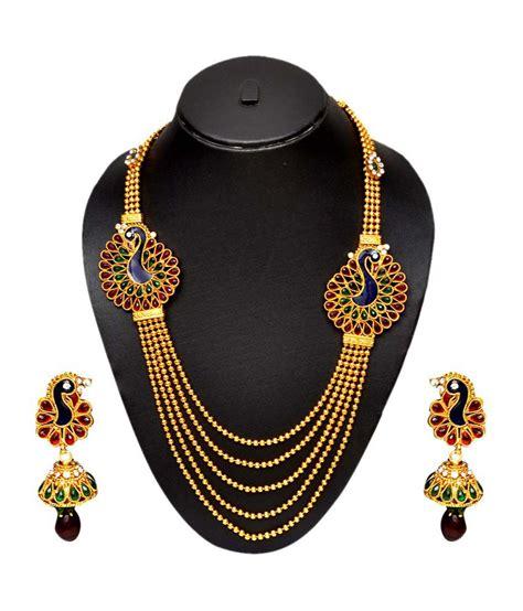 design necklace online pourni peacock design long necklace set buy pourni