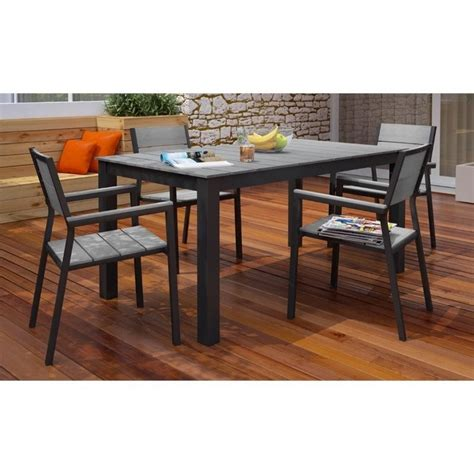 Modway Maine 5 Piece Outdoor Dining Set in Brown and Gray
