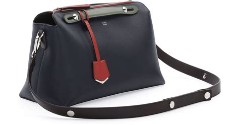 Fendi By The Way Tricolor 7027 fendi by the way medium tricolor satchel bag in blue lyst
