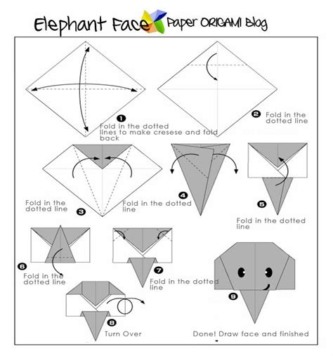 Origami Faces - easy origami elephant paper origami guide