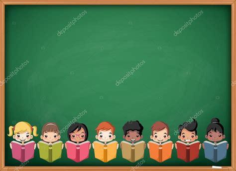 imagenes de niños verdes ni 241 os de dibujos animados leyendo libros sobre la pizarra