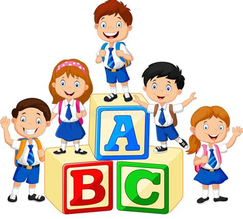 imagenes niños en caricaturas ni 241 os felices de la escuela con los bloques del alfabeto