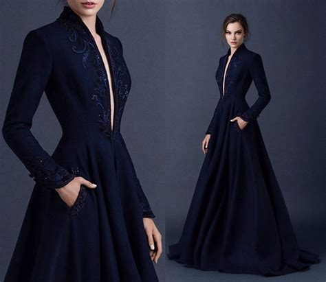 Dress Sequence Panjang navy blue satin embroidery wedding dresses v neckline beading bridal gown with pockets