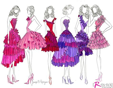 design fashion drawing ruffles and gathers