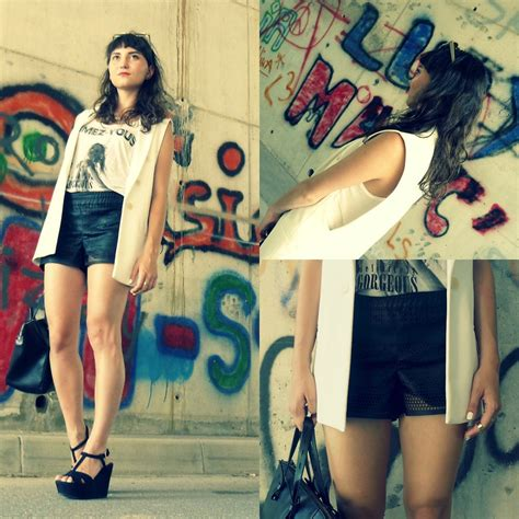Estera Skirt estera lovrec zara blazer zara shirt bershka shorts zara wedges zara bag black and white