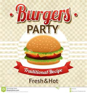 burger party poster stock vector image of illustration