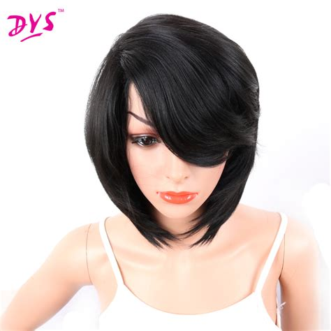 natural black short blunt cut pixie synthetic hair with deyngs short bob synthetic wigs with bangs for black