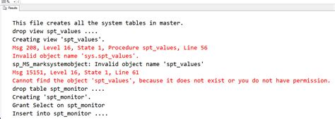 invalid name pattern sql exception sql server invalid object name master dbo spt values