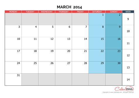 printable monthly calendar week starts monday monthly calendar month of march 2014 the week starts on