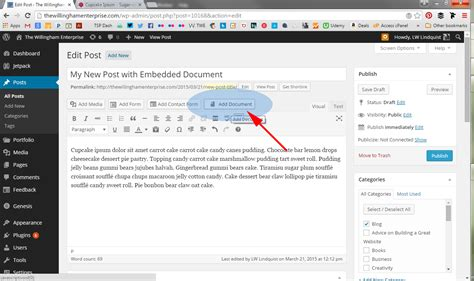 tutorial wordpress doc tutorial how to embed a document into a wordpress post
