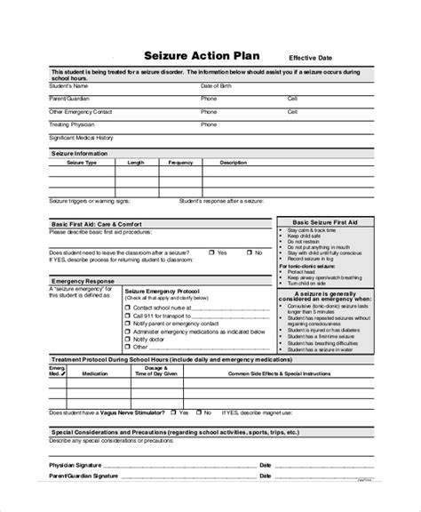 seizure plan template sle plans 46 exles in pdf word