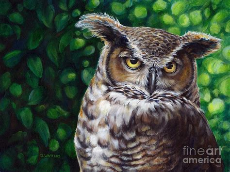 printable real owl pictures wisdom great horned owl painting by darlene watters