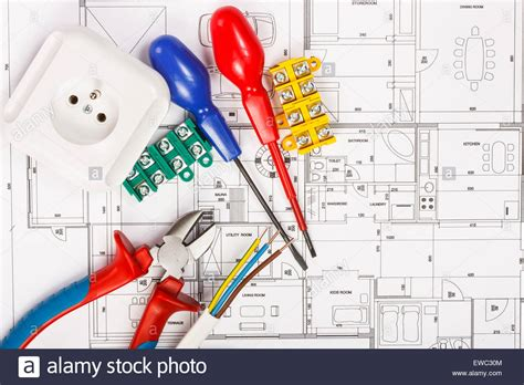 kit home design and supply south coast electrical equipment and tools on house plans stock photo
