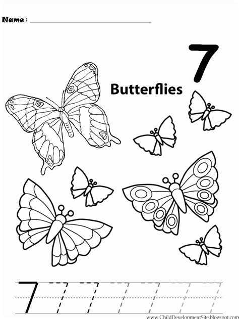 Number 7 Coloring Pages For Preschoolers by Number 7 Worksheet For Preschool Worksheets For All