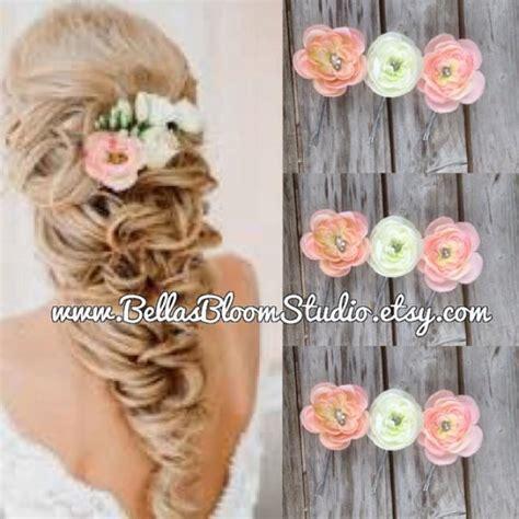 36pcs hair pins bridal flower crystal rhinestone mini hair claws small bridal hair clips coral peach ivory flower