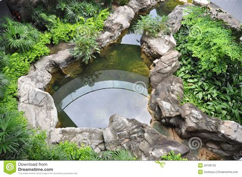 live roof edging roof garden with fish pond stock photos image 20106133