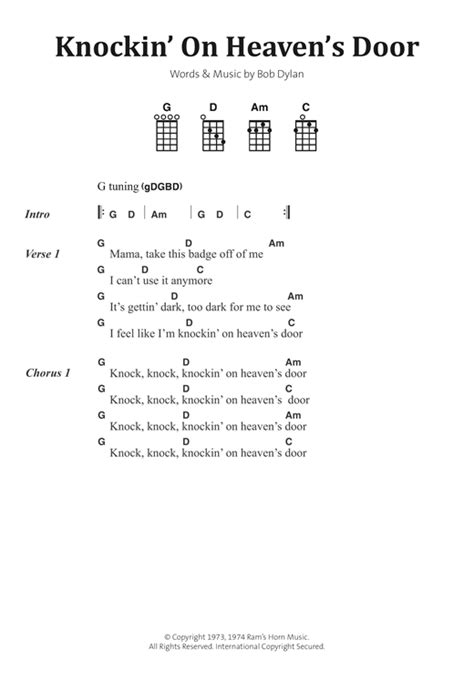Knock Knocking On Heavens Door Lyrics by Knockin On Heaven S Door Sheet By Bob Banjo
