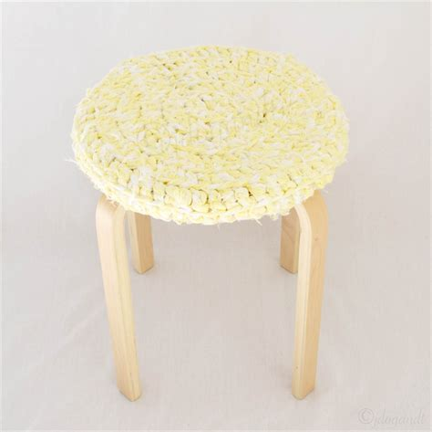 Yellow Fluffy Stool yellow thick chunky crochet stool cover recycled t shirt yarn cozy home decor jdog t