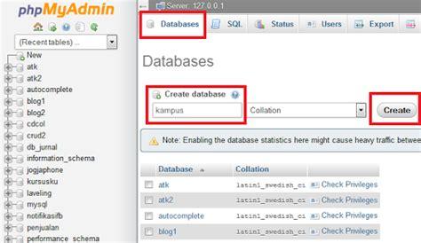 cara membuat database di mysql query cara membuat database mysql di phpmyadmin xampp aditya