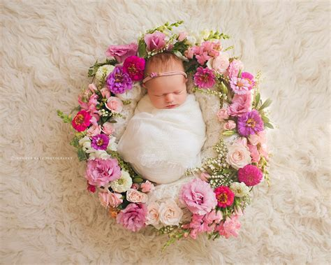 New Baby Flowers by Baby Ringed With Flowers Newborn Photos Image By