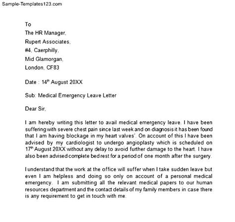application letter for emergency leave emergency leave letter sle templates