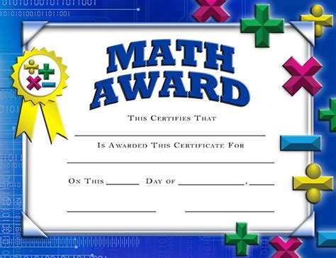 crown certificates math award certificate