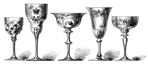 vintage cocktail clipart antique wine glasses engraving free digital clip