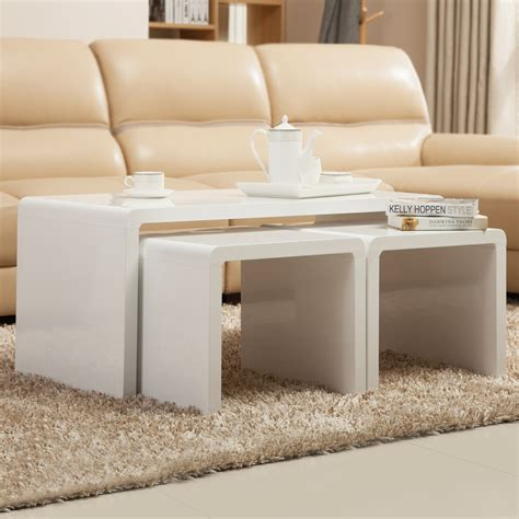 White Coffee And End Table Sets High Gloss White Coffee Table Side End Table Set Of 2 Living Room Furniture