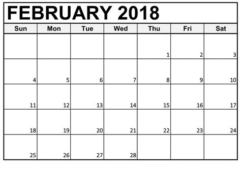 printable calendar february 2018 calendar february 2018 printable free download free