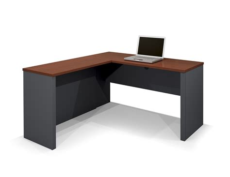 l shaped espresso bull nose corner desk with gray
