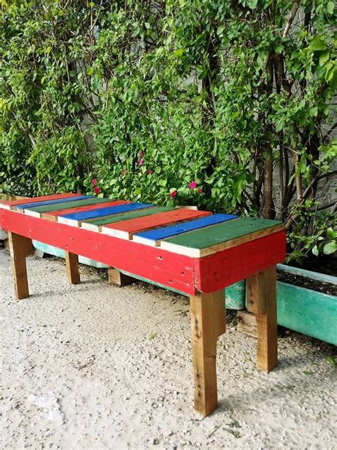 colored benches pallet benches for garden