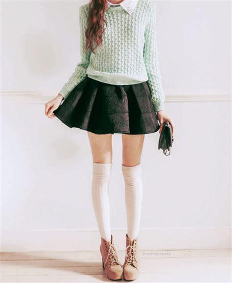 sweater black black skirt knee high socks white knee