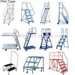 Outside Handrails For Stairs Warehouse Steel Safety Rolling Mobile Platform Ladder With