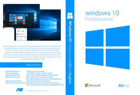 Dvd Windows 10 windows 10 professionnel 64 bit dvd cover by