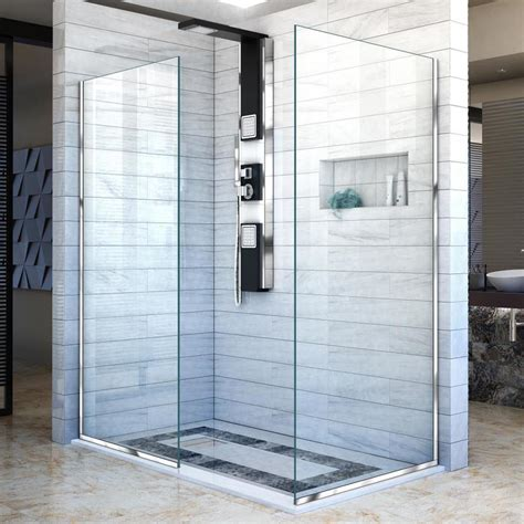 30 Shower Door Shop Dreamline Linea 30 In To 30 In Frameless Chrome Fixed Shower Door At Lowes