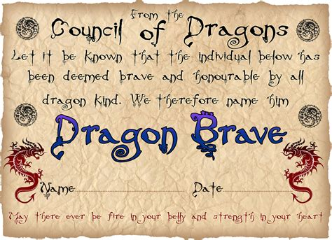 dragon bravery certificate boy rooftop post printables