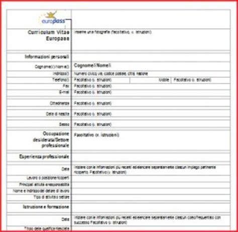 Formato Europeo Curriculum Vitae Fac Simile fac simile curriculum vitae da scaricare gratis tuttotech